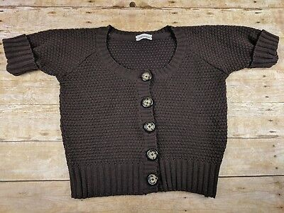 d4902e37ba J   M Davidson Womens Cropped Knit Cardigan Button Up Brown Wool Sweater