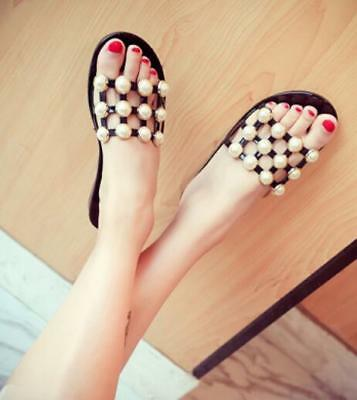 Womens Flats Jelly Pearls Summer Beach Slippers Sandals Fashion Slip On Shoe D51