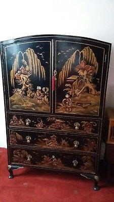 Chinese Oriental Antique Black Lacquer Cabinet With Painted Inlay