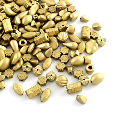 500g Assorted Gold Plated Acrlic Beads Mixed Shape Loose Beads Beading 8~17mm