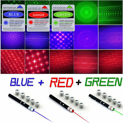 USA 6in1 Green+Red+Blue/Violet Laser Pointer Pen Visible Beam Light & Star Caps