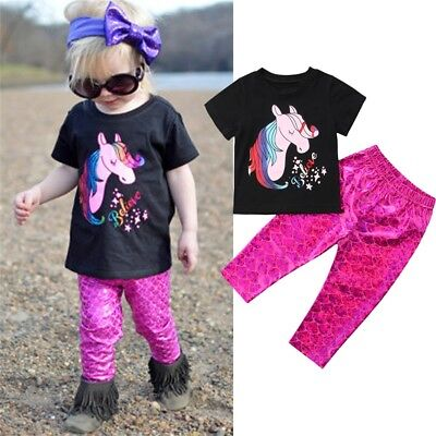 US 2PCS Newborn Kids Baby Girl Unicorn Tops Mermaid Pants Outfits Clothes 1-5T