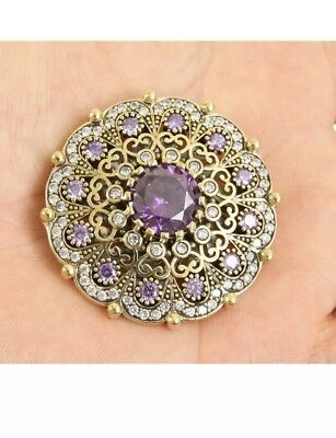 Wow! Antique Vintage Gorgeous 925 Silver Brooch with Amethyst and Topaz.