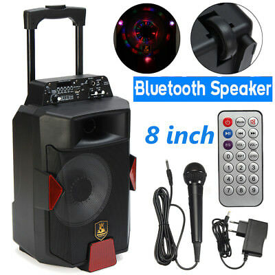 8 INCH Portable Bluetooth PA Speaker System DJ Power Amplifier TF USB AUX Input