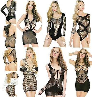 Sexy BodyStocking Hollow Fishnet Catsuit Lingerie Babydoll Underwear Lace Dress