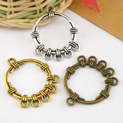 5Pcs Tibetan Silver,Gold,Bronze Round 1-5 Charms Pendants Connectors M1488