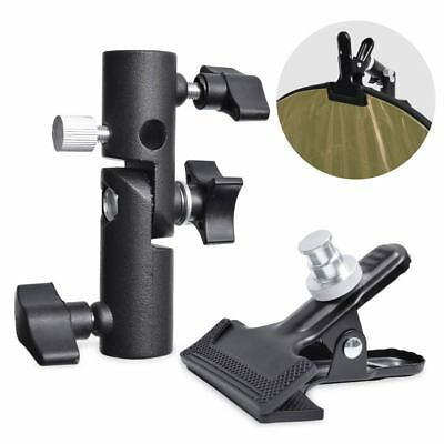 "Studio Heavy Duty Metal Clamp Holder W/ 5/8"" Light Stand Attachment fr Reflector"