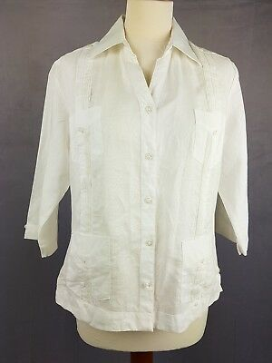 Vintage Ladies White 100% Linen 3/4 Sleeve Guayabera Style Shirt UK 14/16 EZ22