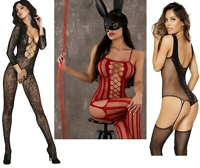 Crotchless Playsuit Cosplay Body Stocking Bodysuit Catsuit Lingerie Fishnet Lace