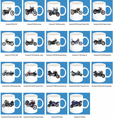 300ml Ceramic Mug with Print: Yamaha Part 3 Motorcycle Models Coffee Mug Bike