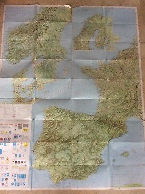 Huge Vintage 2 Sided Fold Up AA Wall map of Western Europe