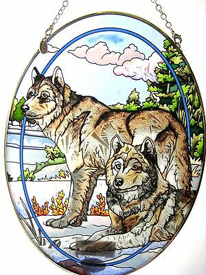 """Amia Stained Glass Suncatcher 6.5"""" X 9"""" Oval Wolf Watchful Pause #7116"""