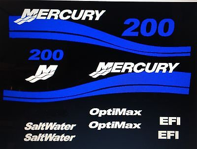 Mercury outboard decals Optimax OR EFI Saltwater Outboard 25 - 275  Marine Viny