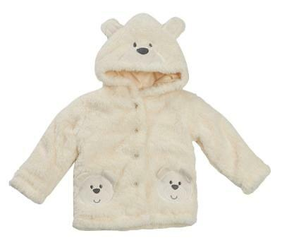 Baby Boy Girl Cream Coat Snuggle Fleece Cute Beat Face On Hood 0-3 to 18-24 M