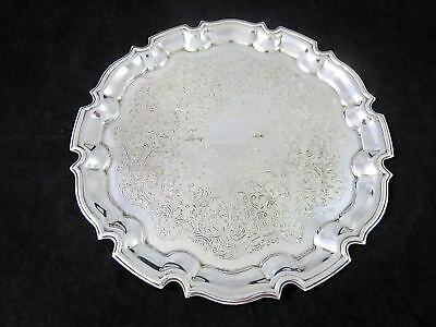 """Vintage CAVALIER ENGLAND Silverplate CHIPPENDALE ROUND SERVING TRAY 10.25"""""""