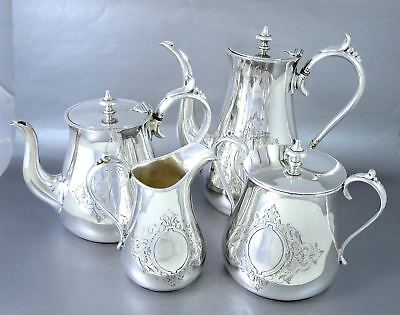 Antique JAMES DIXON & SONS SHEFFIELD Silverplate Engraved 4pc TEA COFFEE SET