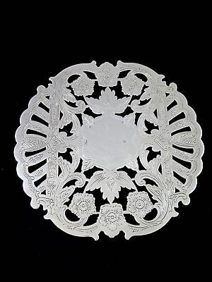 Vintage BURKE & WALLACE CANADA Silverplate Pierced Floral FOOTED TRIVET