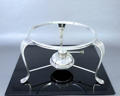 Vintage Silverplate CHAFING STAND & ALCOHOL BURNER Dish Warmer