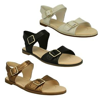 5595f89570e Ladies Clarks Leather Flat Buckle Casual Summer Sandals Shoes Size Bay  Primrose