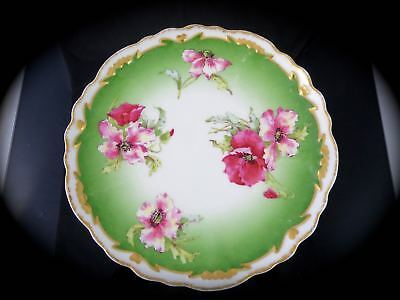 Antique LIMOGES CORONET BMdeM Hand Painted Plate POPPIES & GILDED RIM 1904-1908