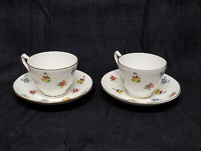 Pair of Crown Staffordshire Floral Tea Cups and Saucers Fine Bone China ENGLAND