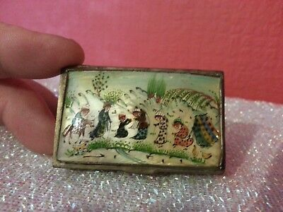 Antique Chinese Village Scene Snuff Box Silver Plated Mother of Pearl