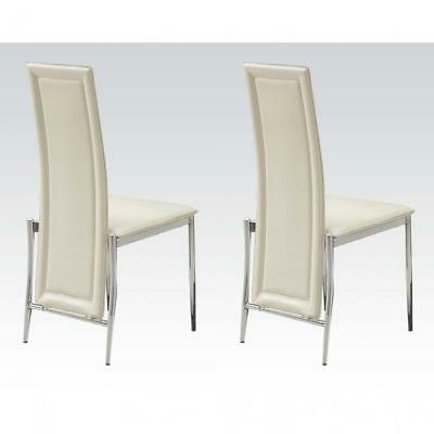 Remarkable Acme Rolo Side Chair Cream Pu Chrome Set Of 2 81 79 Bralicious Painted Fabric Chair Ideas Braliciousco