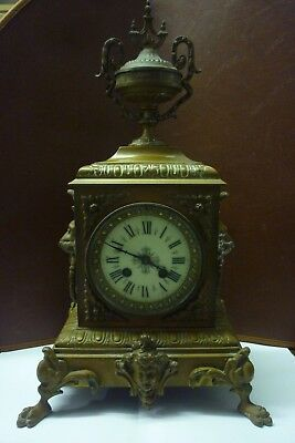 Large Victorian Brass Striking Mantle Clock Works Perfectly