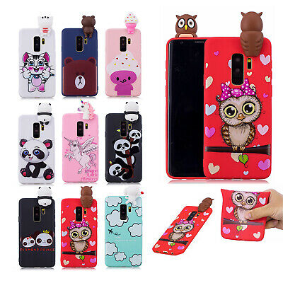For Samsung Galaxy S9 Plus/S8/Note 8 Cute 3D Rubber Silicone Pattern Case Cover