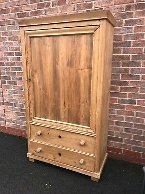 Pine linen press / tallboy / cupboard with 2 drawers
