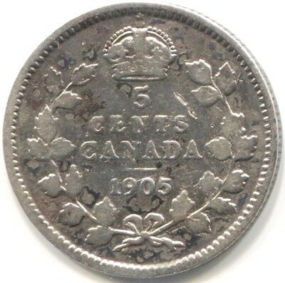 1905 CANADA SILVER FIVE CENTS Coin