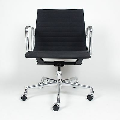 Eames Herman Miller Aluminum Group Executive Desk Chairs Black Fabric 16 Avail