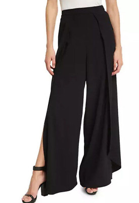 ALICE + OLIVIA Black Wide Leg High Rise Pants Slacks Tulip Open Leg Size 2 NWT