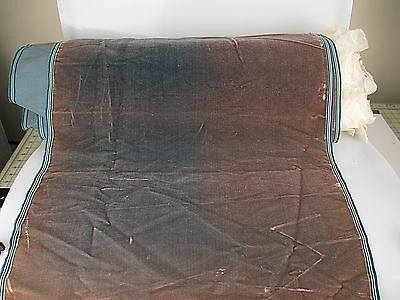 Antique velvet fabric France Victorian cotton silk Teal