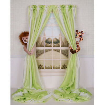 Curtain Critters Chic Mod Jungle Safari Zoo Lion And Giraffe Curtain Tieback Set