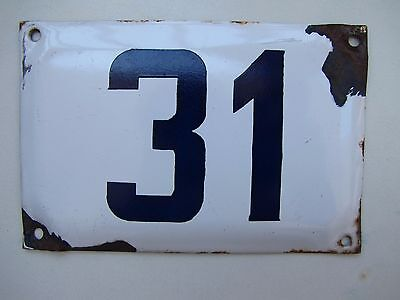 vintage  ISRAELI  enamel porcelain number 31 house  sign # 31