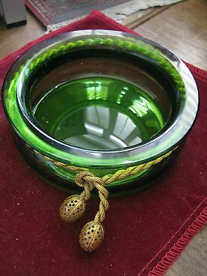 Hollywood Regency Moderne GREEN GLASS BOWL tied w/ GOLDEN BRASS ROPE & TASSLES
