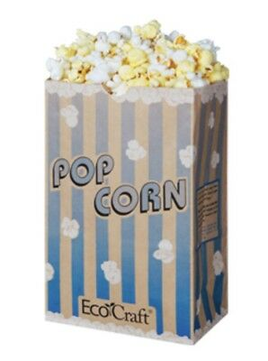 36 EcoCraft Large Coated Grease Proof Retro Paper Popcorn Bags Concessions Blue