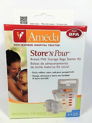 Ameda Store'N Pour Breast Milk Storage Bags Starter Kit-NEW