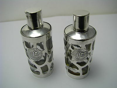 2 STERLING SILVER OVERLAY&GLASS PERFUME BOTTLES SCENT FLASKS TAXCO MEXICO 1960s