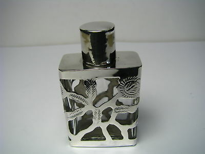 VINTAGE STERLING SILVER GLASS PERFUME BOTTLE SCENT FLASK Taxco Mexico ca1960s