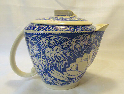 Vernon Kilns California HAWAIIAN FLOWERS Blue Covered Pitcher/Pot DON BLANDING