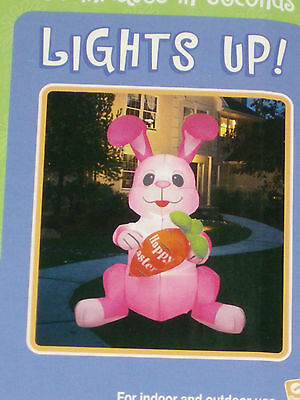 RARE Gemmy 6' Lighted Easter Bunny Rabbit w/Carrot Airblown Inflatable Blow-up
