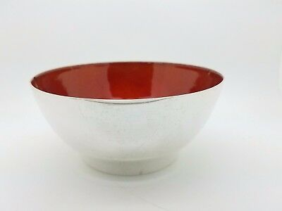 Towle 55 Sterling Silver Revere Footed Finger Red Enamel 5' Inch Bowl 230 Grams