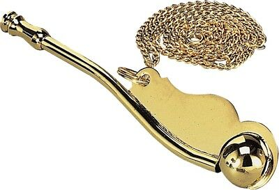 Brass Boatmans Whistle & Chain - Bosun's Call Boatswain Pipe Navy Marine Ship