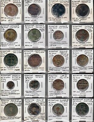 Large lot of Byzantine bronze coins, several with Jesus