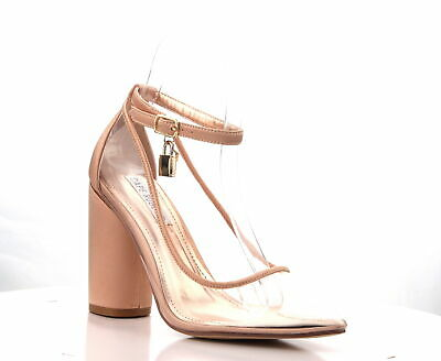 7114dc9699d9cf Cape Robbin Rizzo-1 Rose Gold Satin Pointed Lucite Clear Block Heel Ankle  Pump