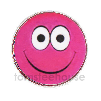 2 x Smiley Face Pink GOLF BALL MARKER  - 25mm Metal