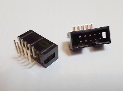 10 way (2x5 0.1 inch spacing) R/A Box Header Plug for IDC sockets x 5 pieces