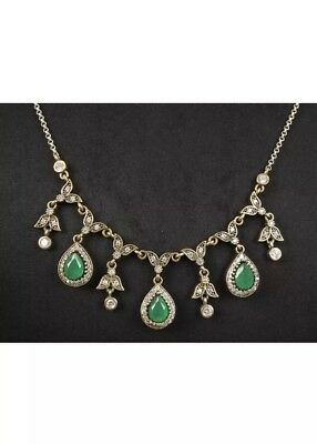 Antique Vintage Tear Drop 925 Silver Necklace with Emerald and Sapphire.